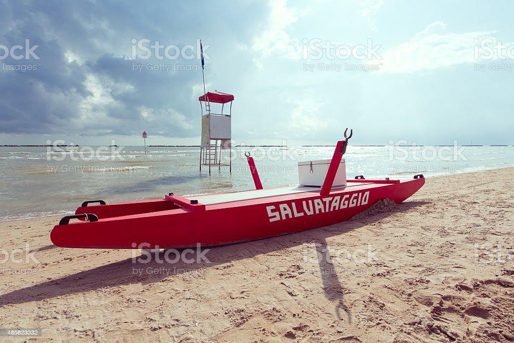Classic boat rescue rowing Adriatic coast Italy stock photo