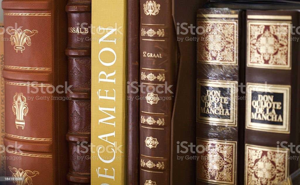 Classic books collection stock photo