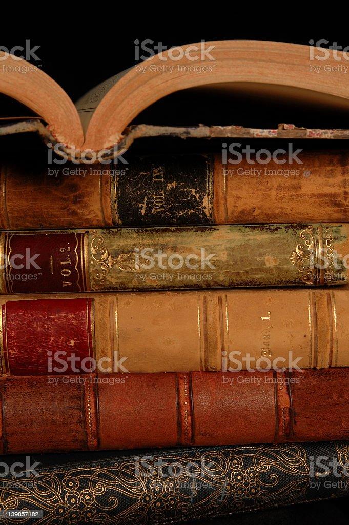 Classic bound books. stock photo