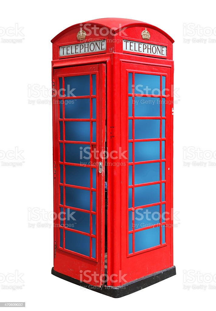 Classic British red phone booth in London isolated on white stock photo