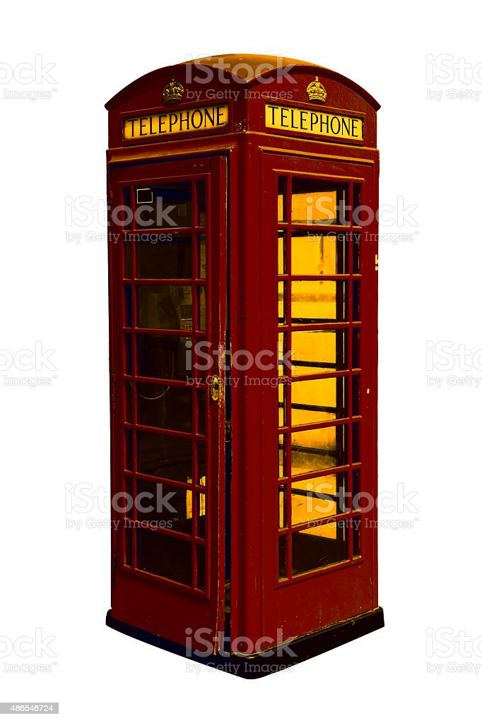 Classic British red phone booth in London UK stock photo