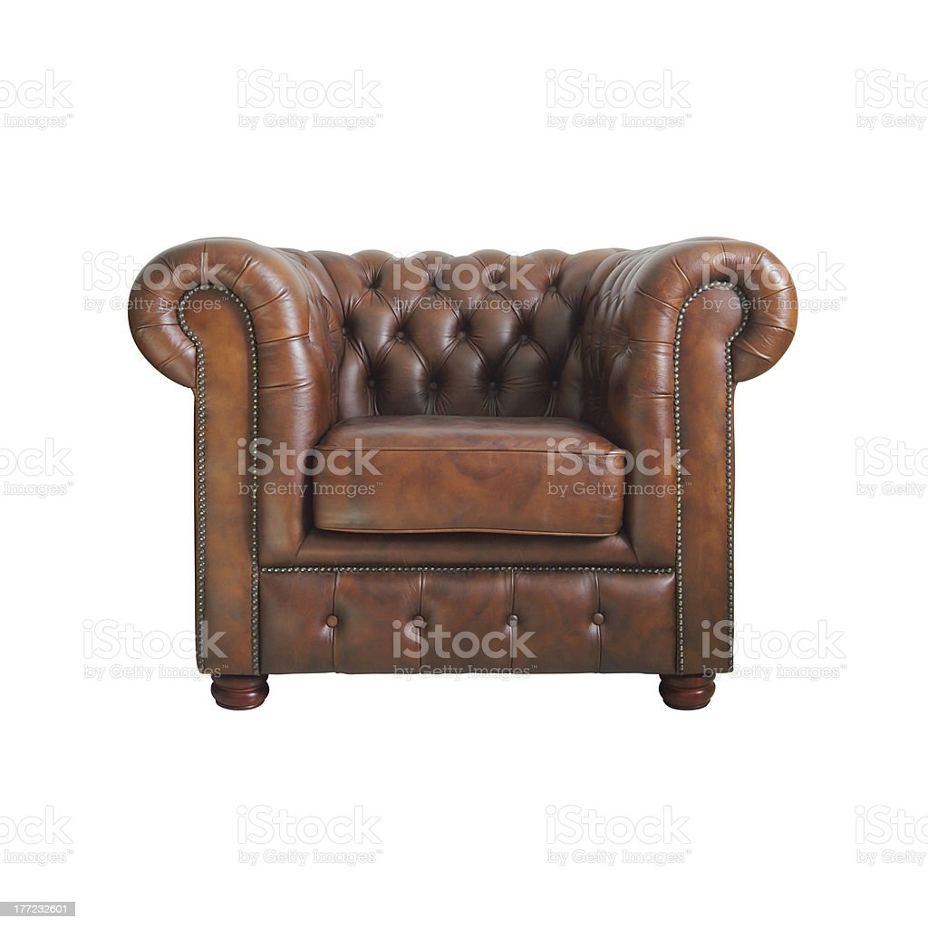 Classic Brown leather armchair. stock photo