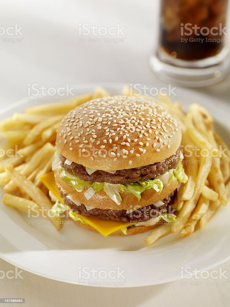 Classic Burger with French Fries and a Cola stock photo