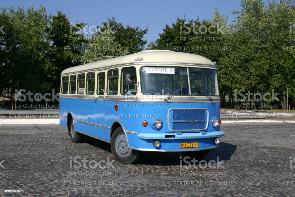 Classic bus on the street stock photo