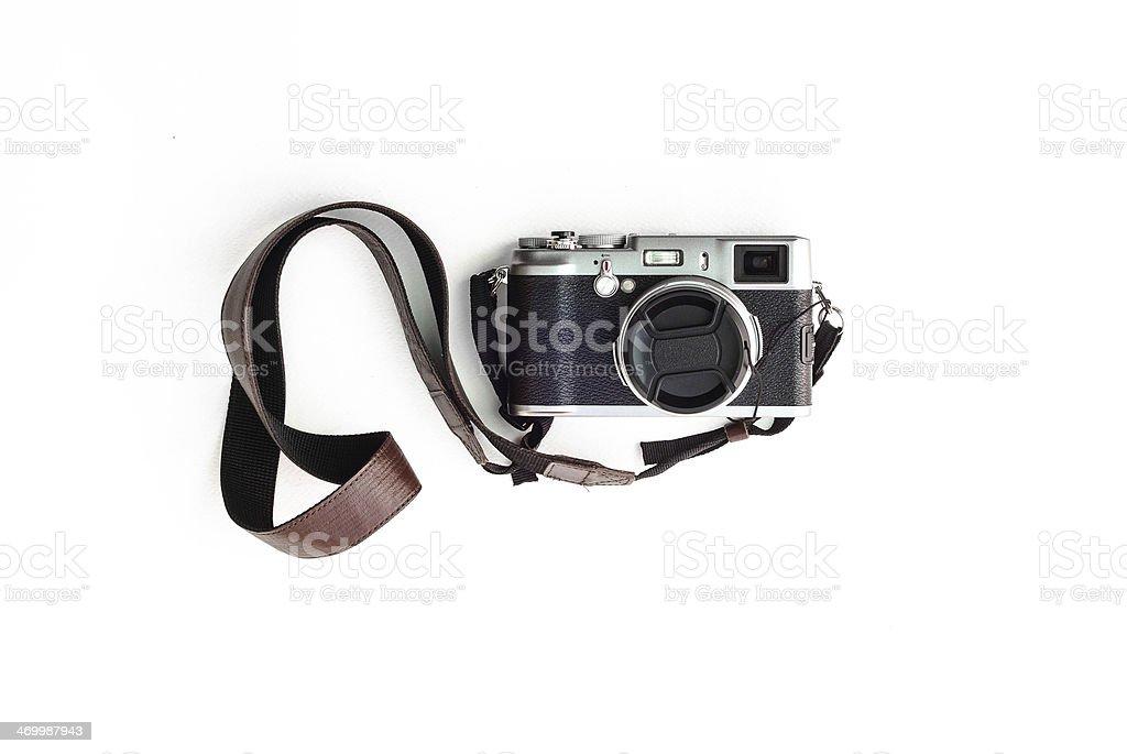 Classic camera on white stock photo