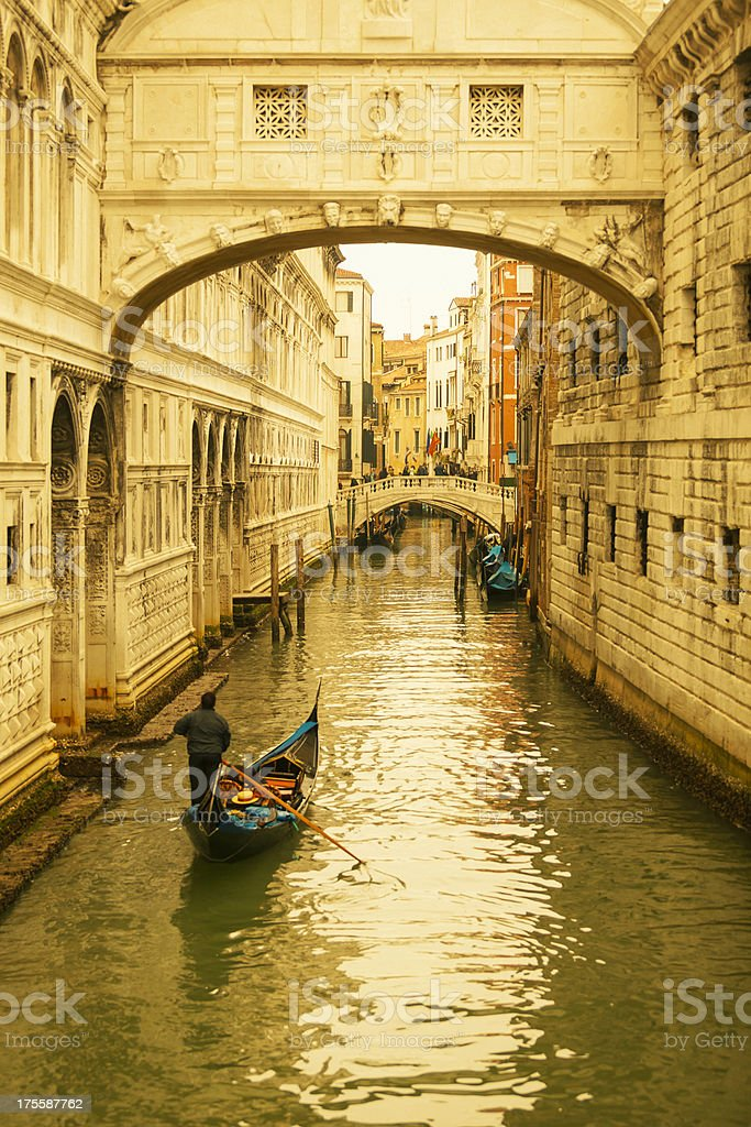 Classic canal and gondola in Venice royalty-free stock photo