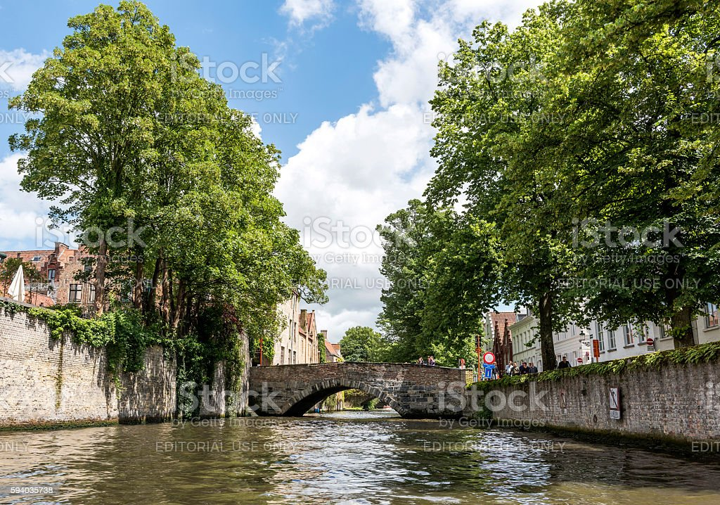 Classic canal sights of Bruges, Belgium stock photo