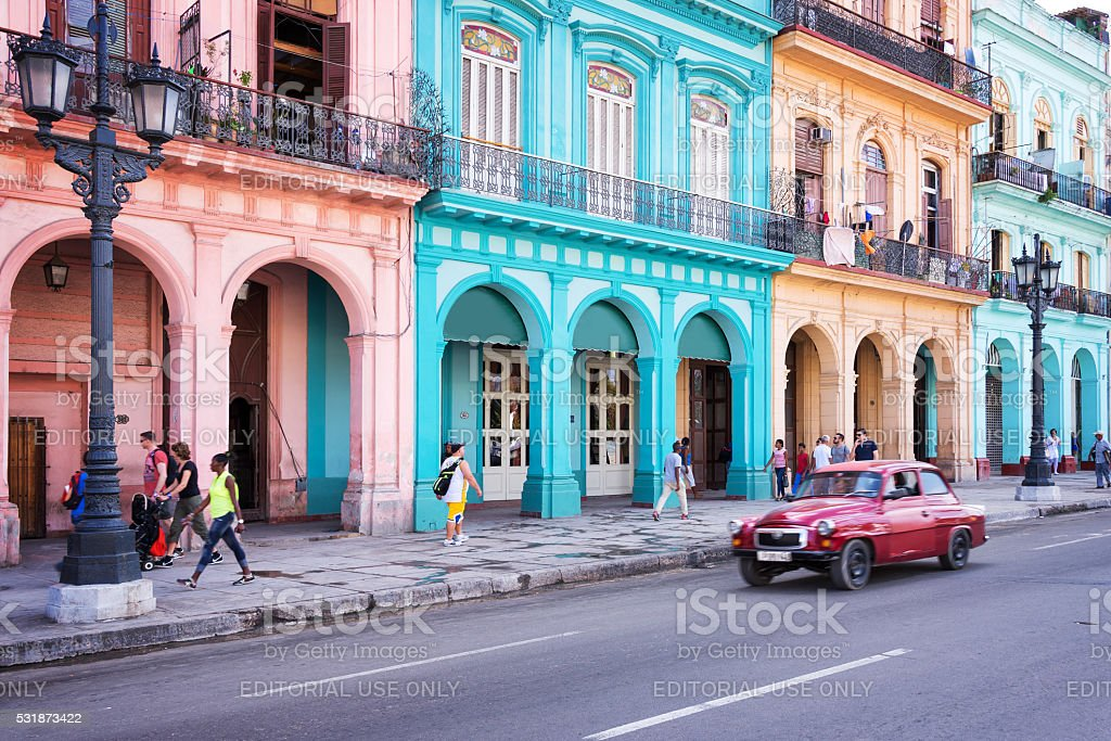 Classic car and colonial buildings in Old Havana, Cuba stock photo
