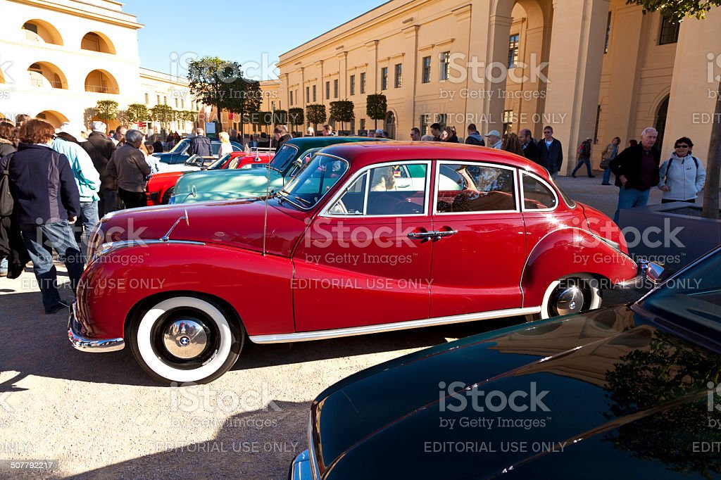 classic car BMW at the BUGA flower show stock photo