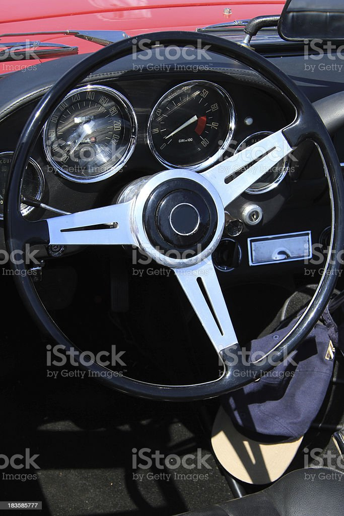 Classic car dashboard stock photo