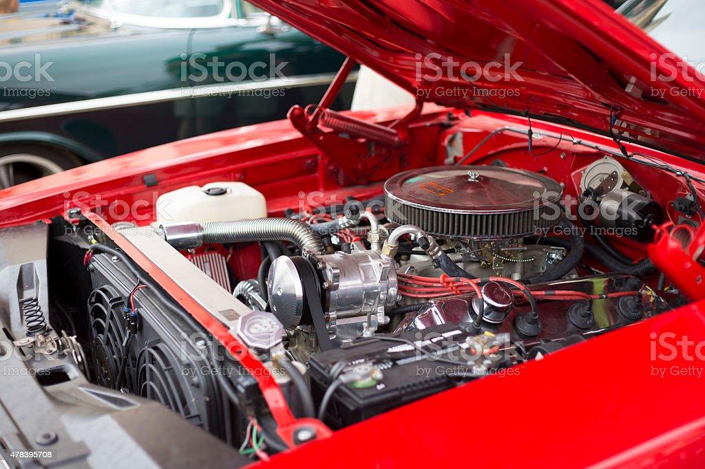 Classic Car Engine stock photo