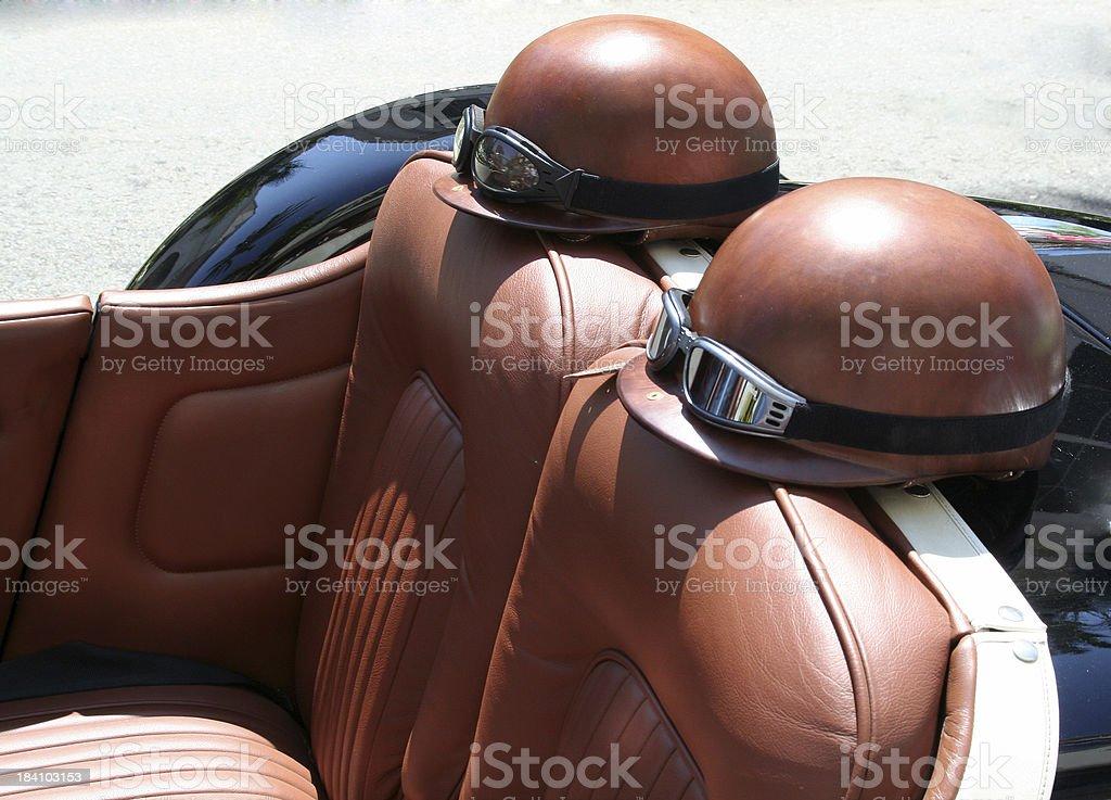 Classic car helmets royalty-free stock photo