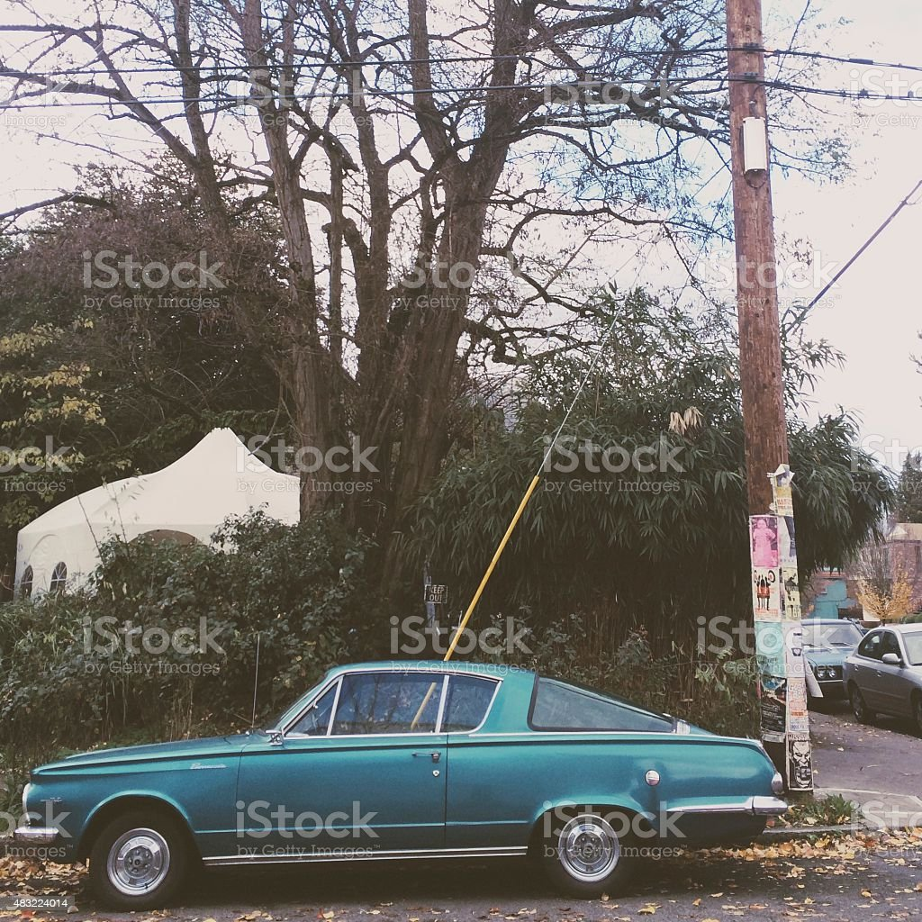 Classic Car in Urban Scene stock photo