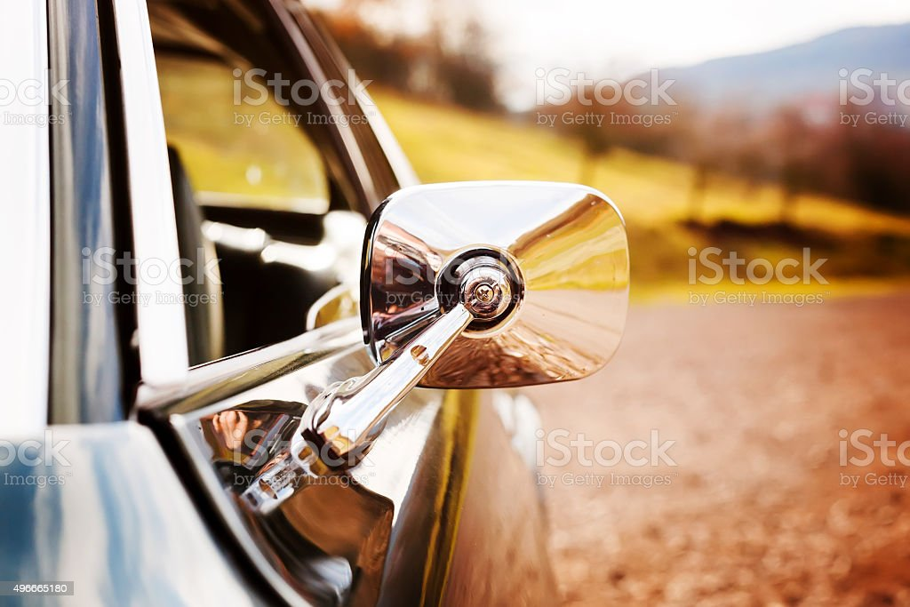 Classic car mirror stock photo