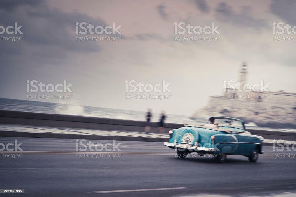 Classic car on the Malecon in Havana, Cuba stock photo