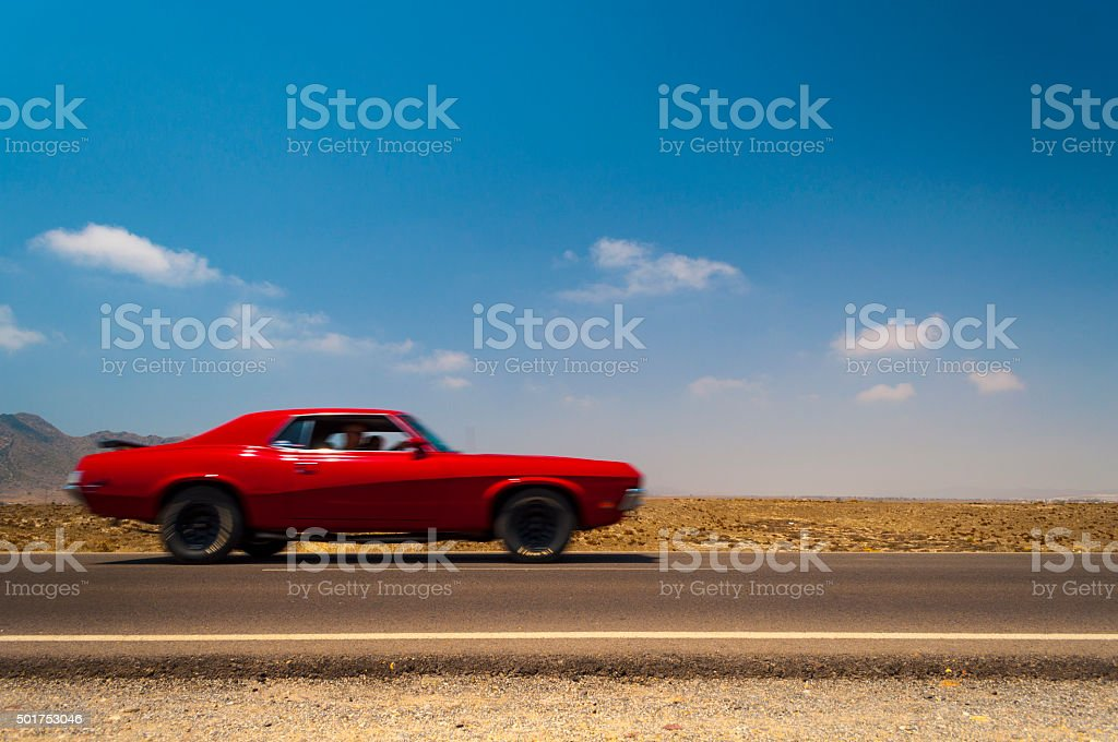 Classic car on the road stock photo