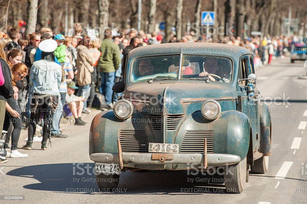Classic car parade celebrating spring on May Day stock photo