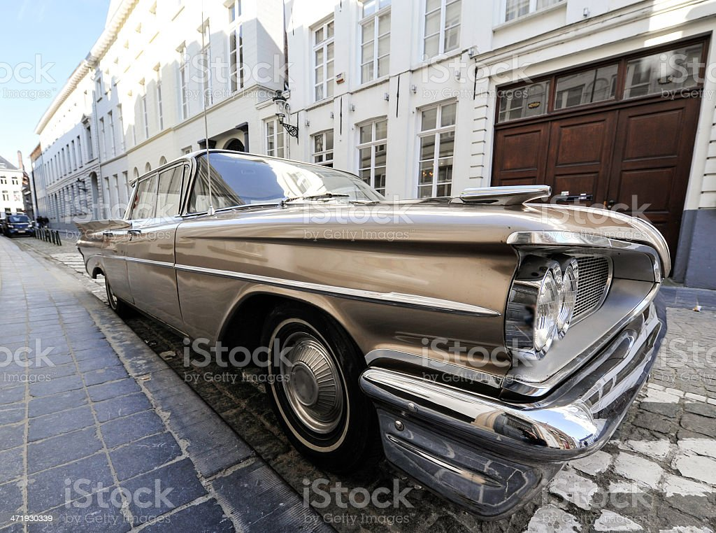 Classic car parked on a street stock photo