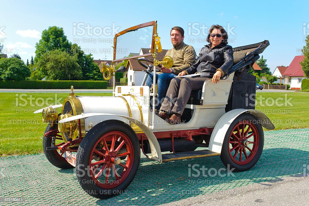 Classic car rally with Cottereau Populaire stock photo