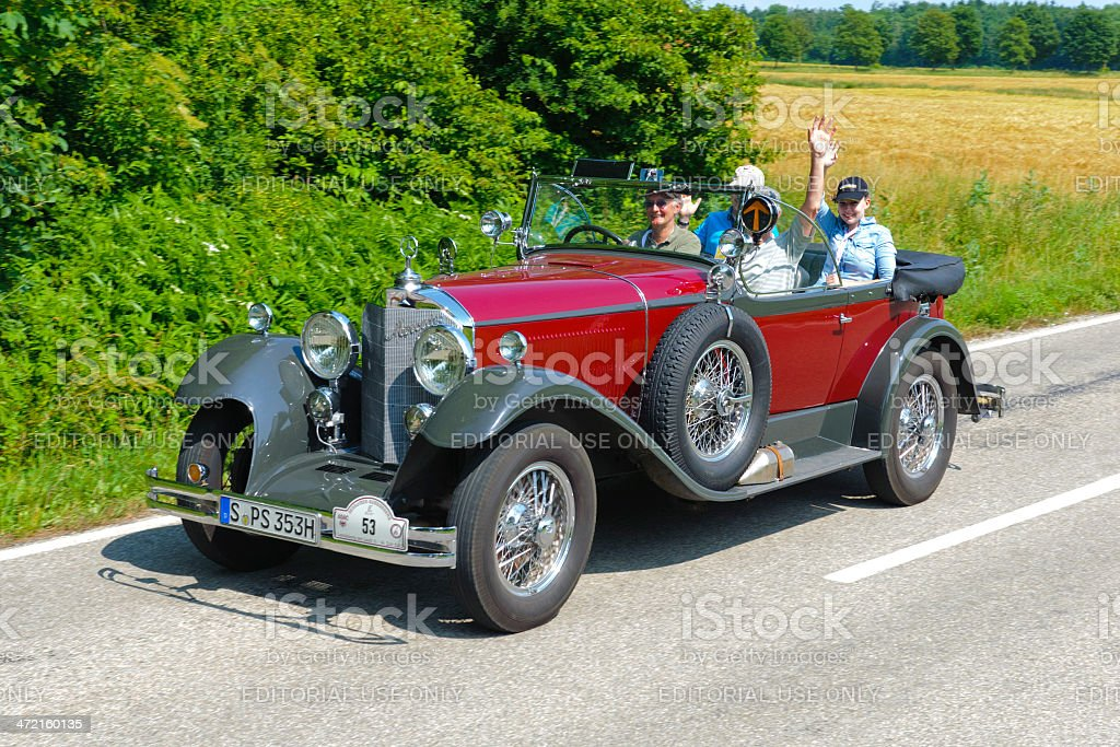 Classic car rally with Mercedes stock photo