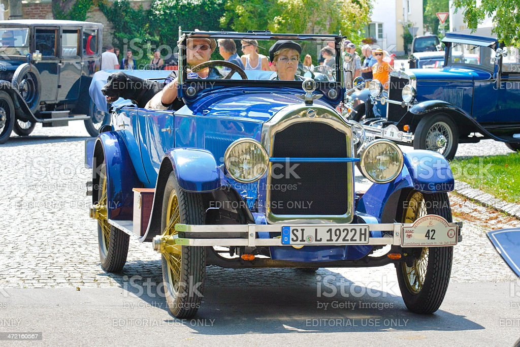 Classic car rally with Studebaker stock photo