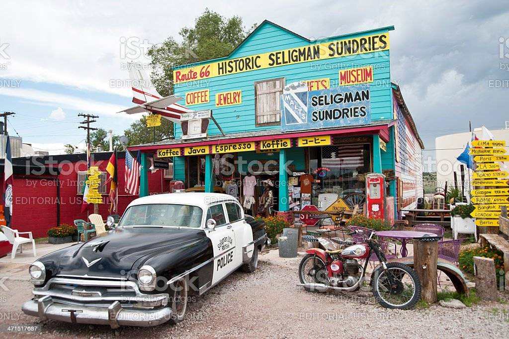 Classic Car Scene - SeligmanRoute 66, Arizona stock photo