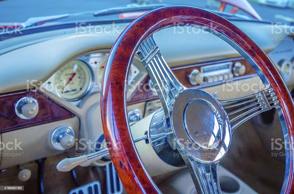 classic car steering wheel dashboard stock photo