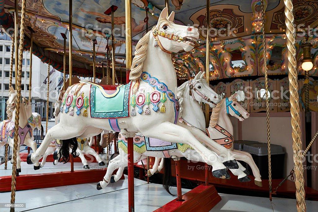Classic carousel horses stock photo