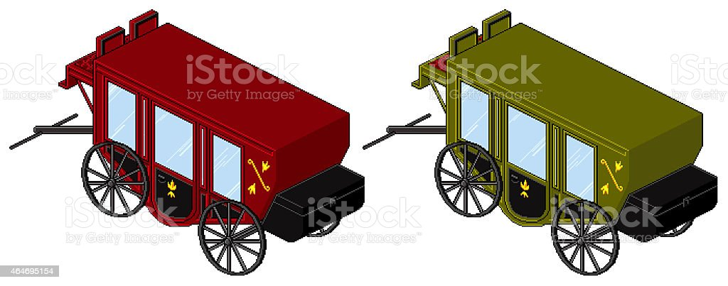 Classic Carriage in red and green, 80s retro pixel style stock photo