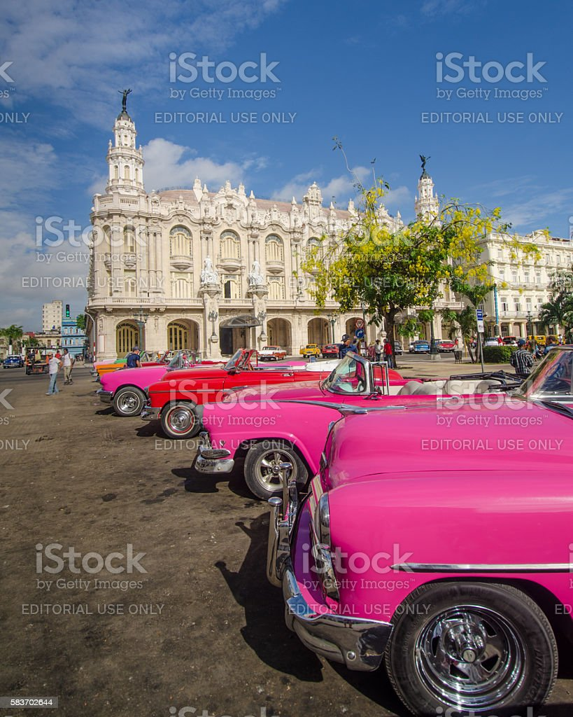 Classic cars and the Great Theater of Havana, Cuba stock photo
