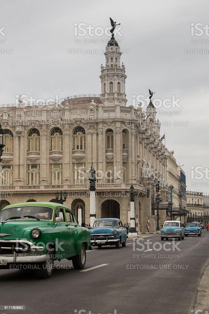 Classic cars driving on Paseo de Martí avenue stock photo