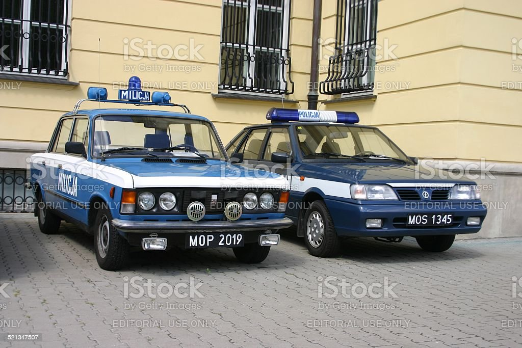 Classic cars from Polish Militia and Police stock photo