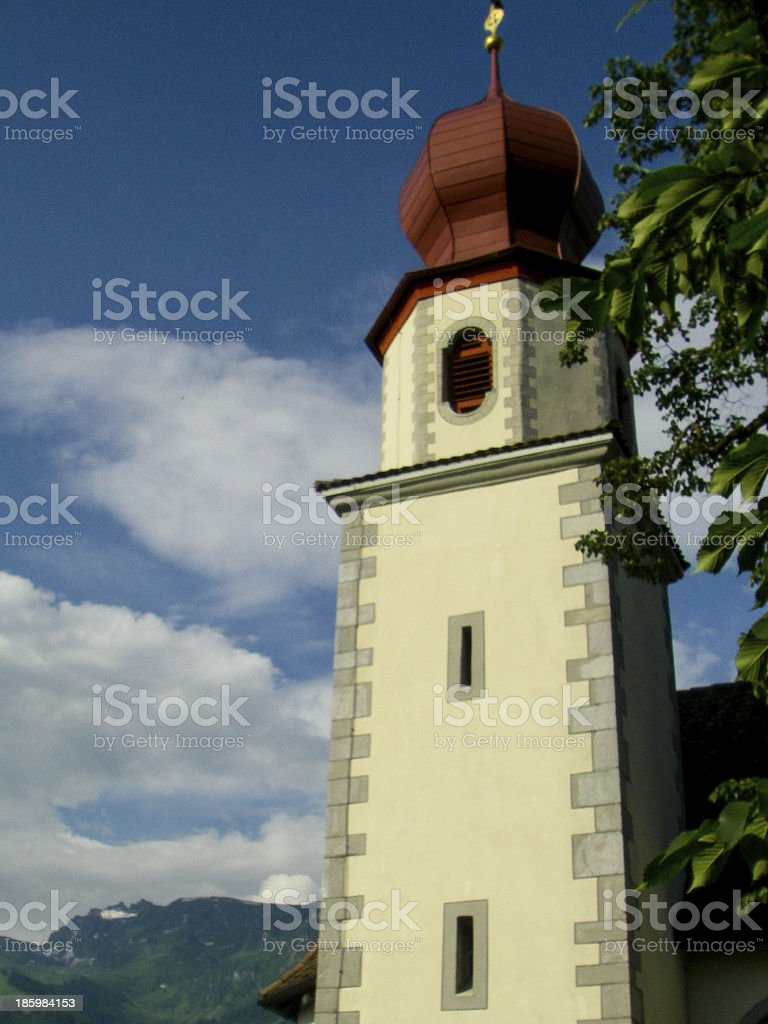 Classic Chapel Steeple with Onion Dome near Sarganz Switzerland stock photo