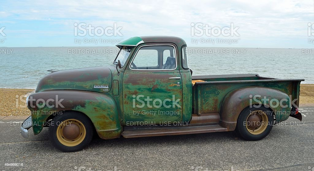 Classic  Chevrolet 3100 pickup truck with some rust stock photo