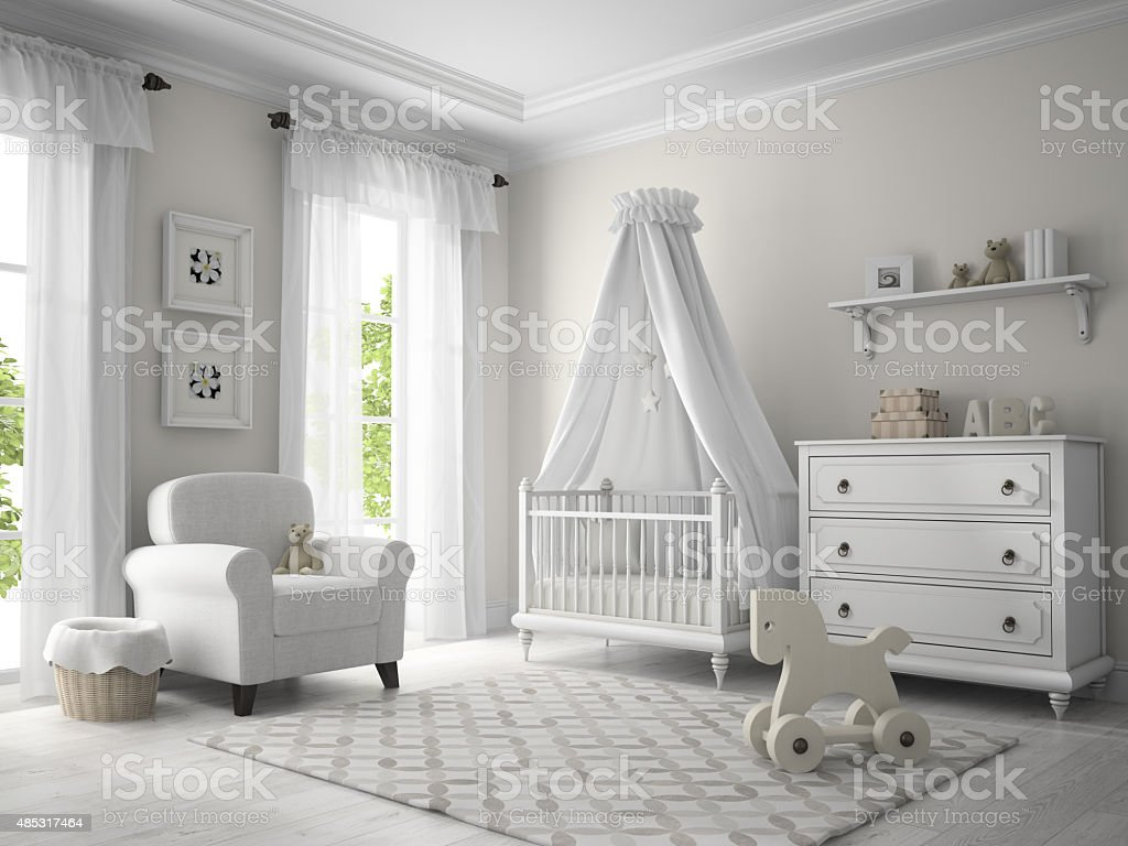 Classic children room white color 3D rendering stock photo