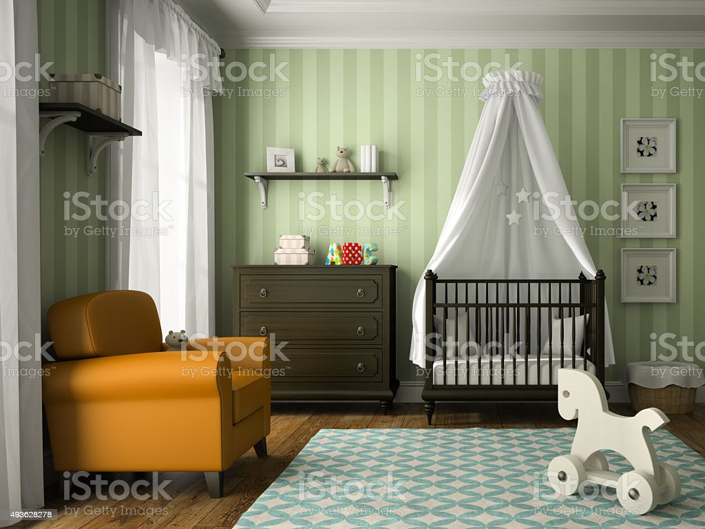 Classic children room with green stripes wall 3D rendering stock photo