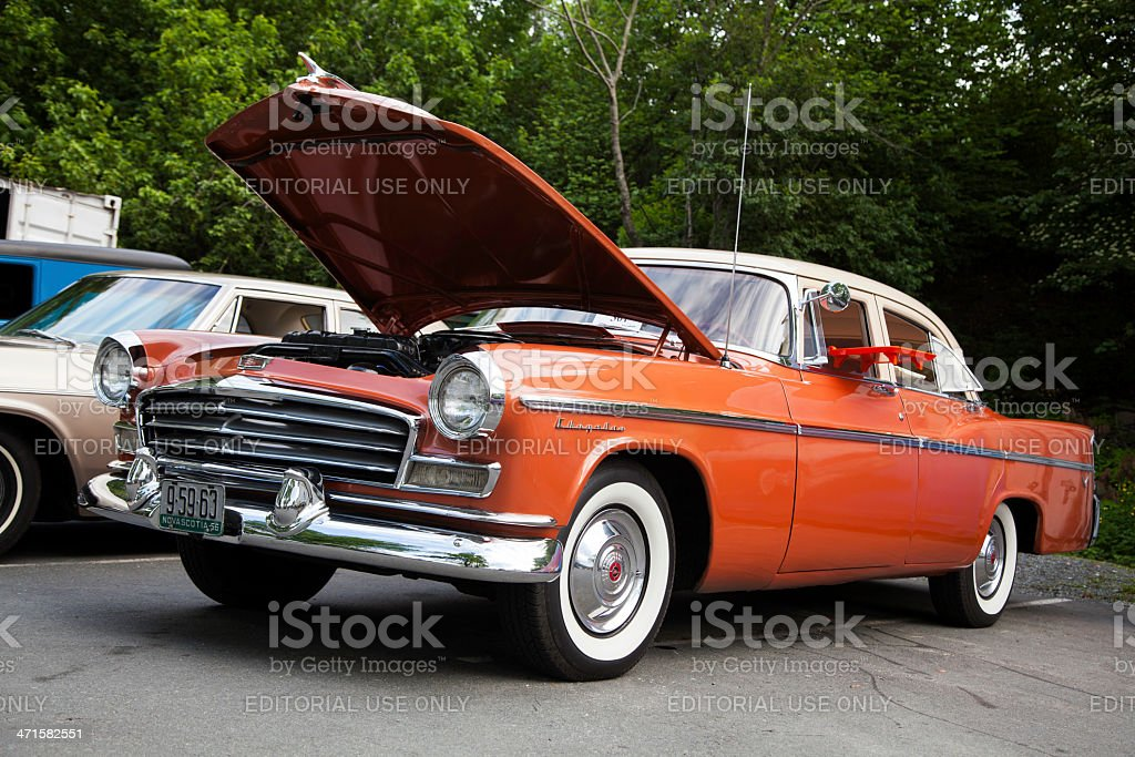 Classic Chrysler with Hood Up stock photo