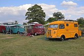 Classic Citroen HY vehicles on the camping