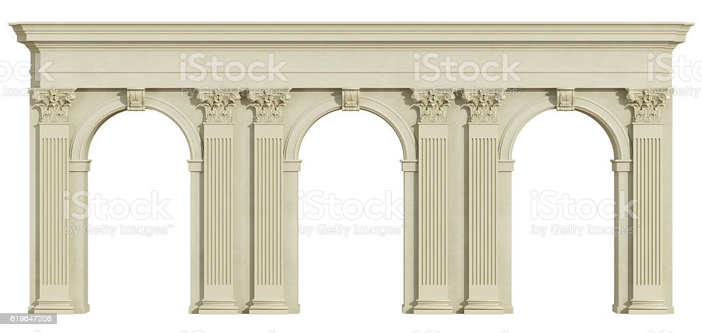 Classic colonnade isolated on white stock photo