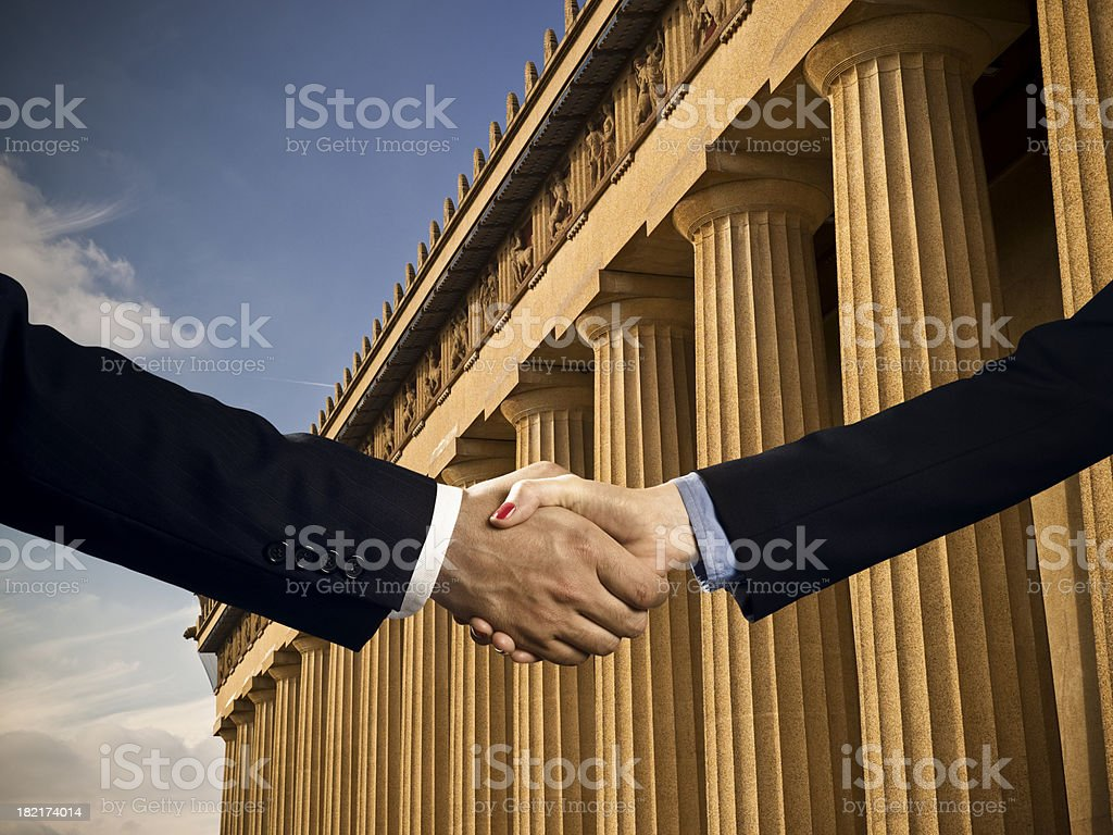 Classic columns business agreement stock photo