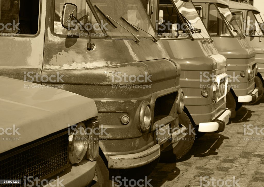 Classic commercial vehicles in a row stock photo