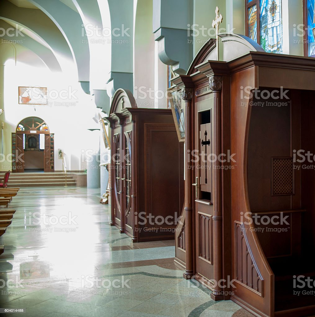 classic Confessional  in the church stock photo