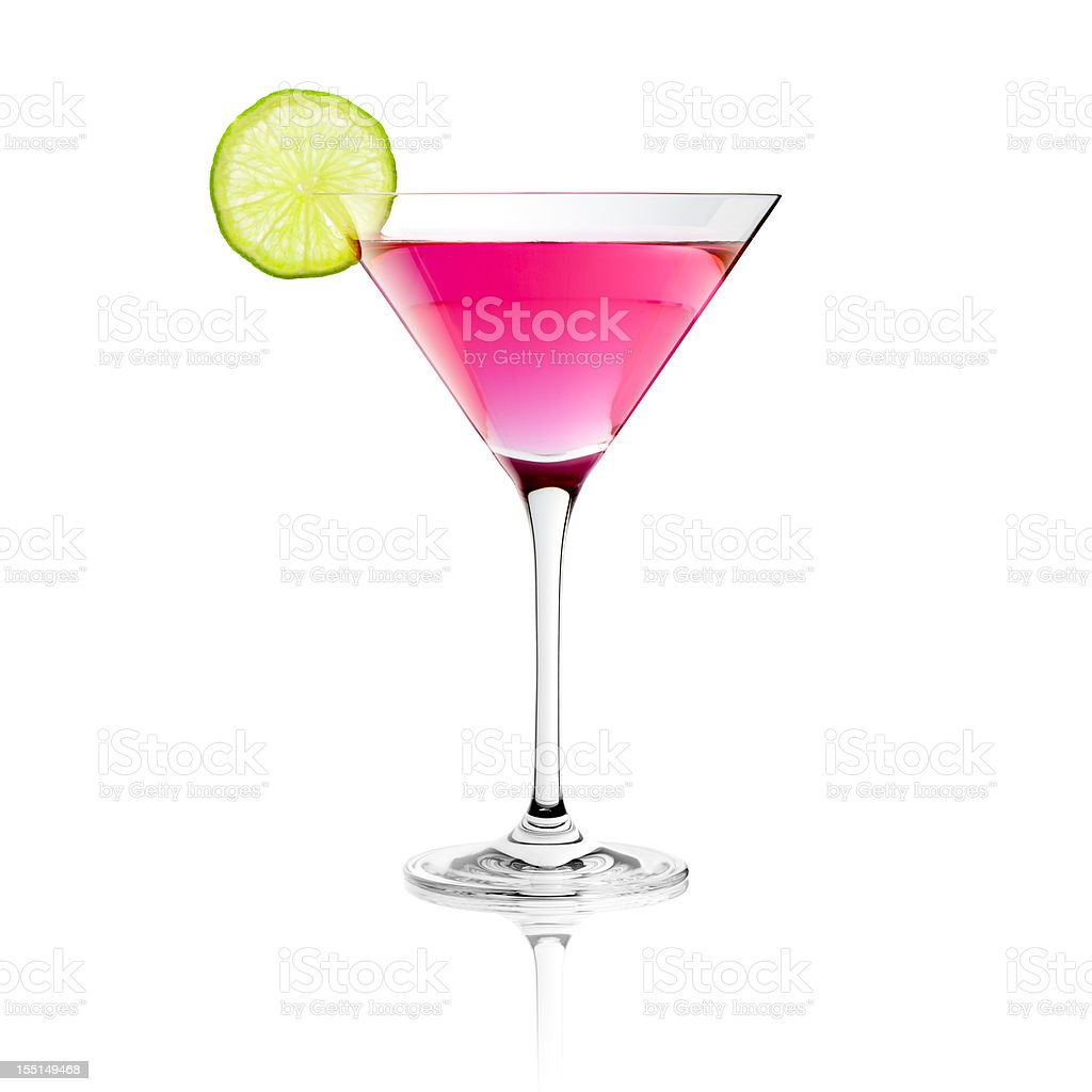 Classic Cosmopolitan Drink with Lime Decoration - Cocktail Glass Martini stock photo