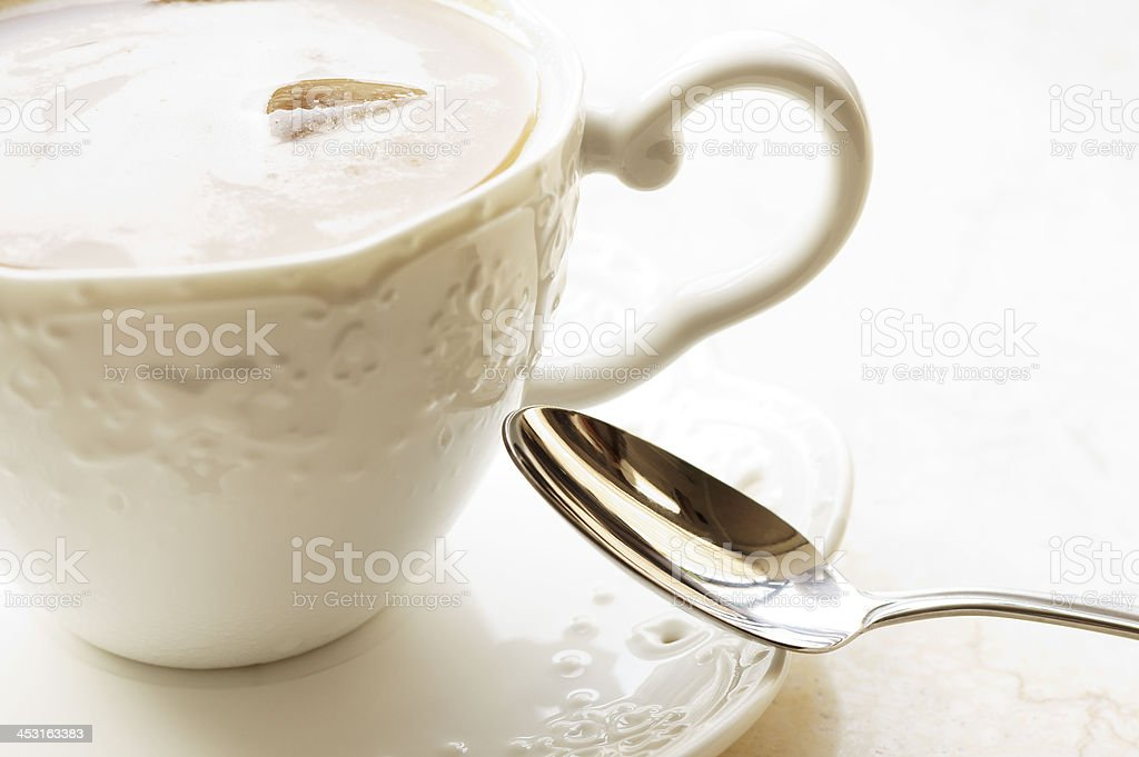 Classic Cup of Coffee and Spoon royalty-free stock photo