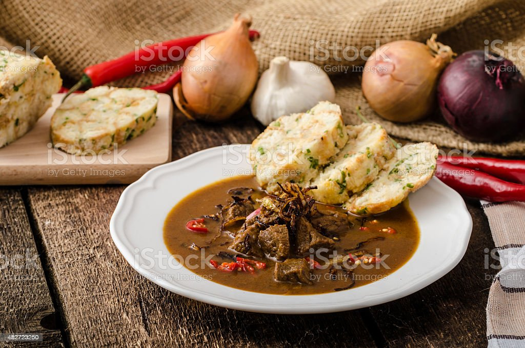 Classic Czech goulash with dumplings stock photo
