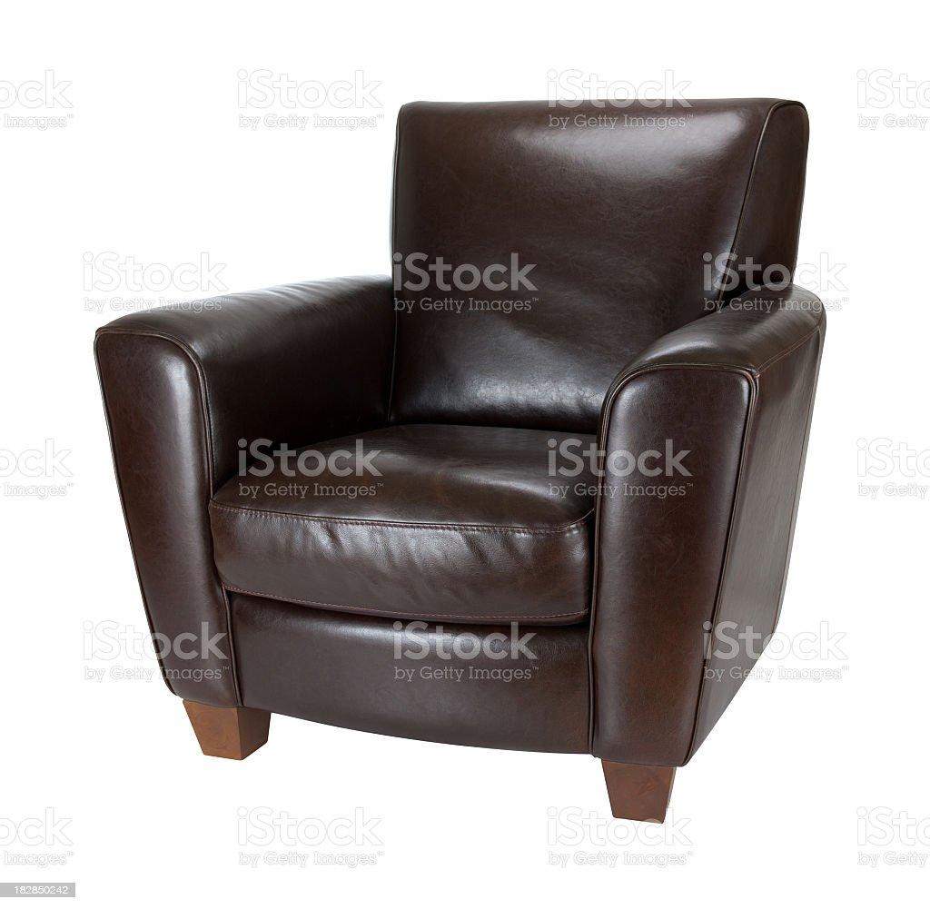 Classic dark brown leather armchair photograph advertisement stock photo