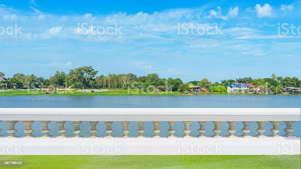 Classic design white beautiful banister railing for buliding or stock photo