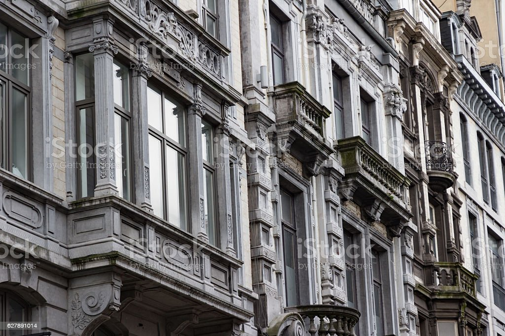 Classic Details of Facades  in Liege stock photo