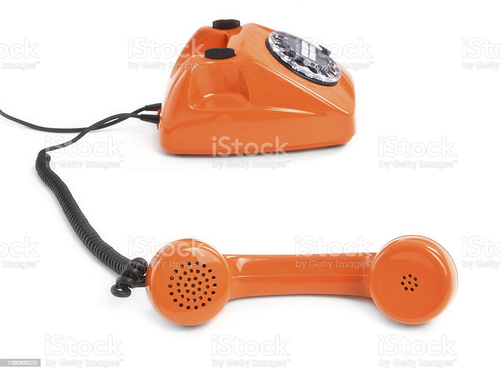 classic dial phone on white background royalty-free stock photo