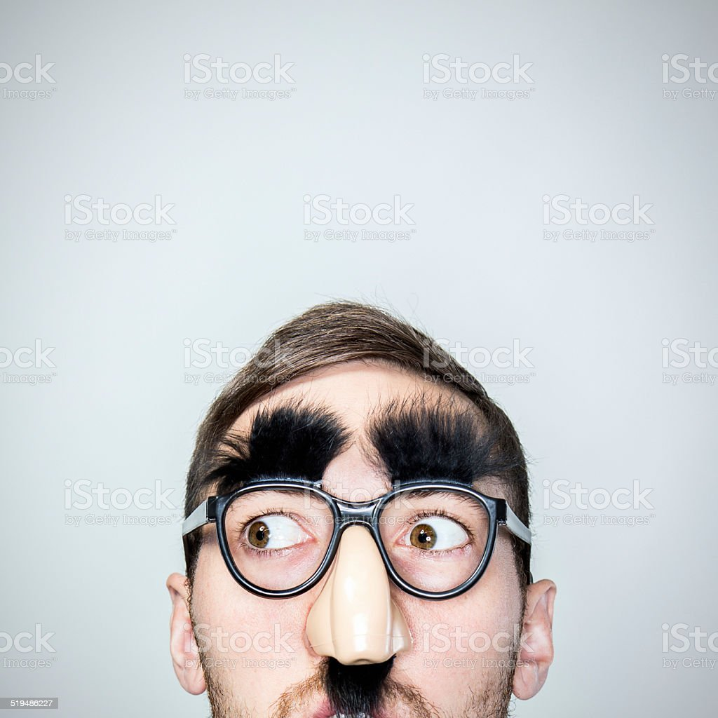 Classic Disguise Glasses on Man stock photo
